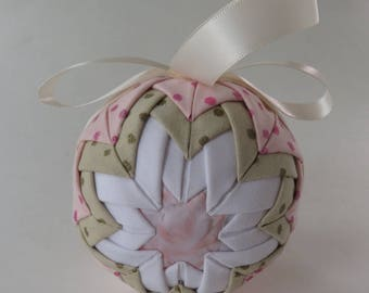 """Quilted Ornament Ball, 3.5"""" Fabric Ornament, Ornament Ball With Cream Ribbon, Ornament With Polka Dots, No Sew Ornament Ball"""