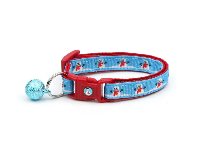 Snow Cat Collar - Snowman in a Red Scarf - Small Cat / Kitten or Large(standard) Size Collar