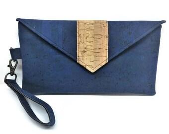 Cork Bag, Navy Blue Cork Wristlet, Wallet Wristlet, Cork Wristlet Wallet,  iPhone Wallet, Cork Clutch, Gift for Her, Cork Wallet