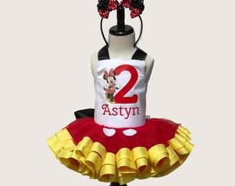Minnie Mouse Birthday* Minnie Mouse Inspiration* Tutu Set * Tutu Outfit * Tutu Skirt * 1st Birthday Tutu * Custom Tutu * Girls Tutu Skirt