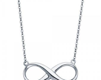 14K Solid White Gold Infinity Pendant Rolo Chain Necklace Set - Love Polish Charm