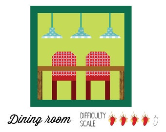 Dining room paper pieced quilt pattern in PDF