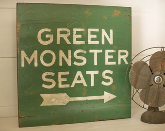 9 SIZES - Green Monster Seats - Boston Red Sox - Fenway Park - Distressed Wood Sign