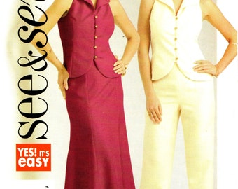 Butterick 4898 SEE & SEW Deep Armholes 3 Piece Ensemble French Francais English Instructions Sizes 8 - 10 - 12 - 14 ©2006
