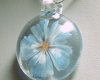 Realistic pale blue to white glass 3D flower pendant - handmade lampwork glass pendant