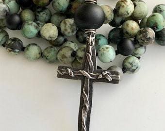 African Turquoise Hand Knotted Necklace   Boho Pewter Cross Necklace