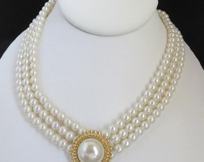 Faux Pearl Triple Strand Necklace, Vintage Bridal Necklace