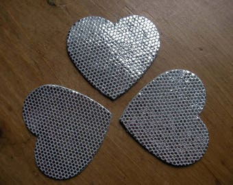 set of 3 little glittery leather hearts