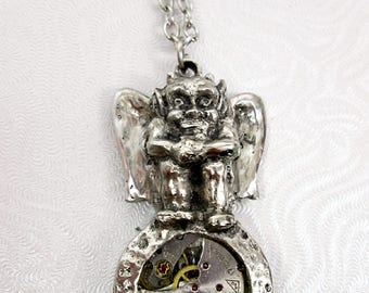 Antique Watch Movement Gargoyle Necklace Spiritual Guardian Protection Necklace Mystical Mens Jewelry UpCycled Repurposed Recycled Art Gift