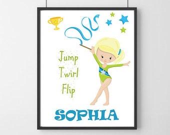 Gymnastics Print, Gymnastics Personalised Gift, Gift For Gymnast, Girls Custom Name Print, Gymnast Gift, Gymnast Art, Gymnastics Wall Art