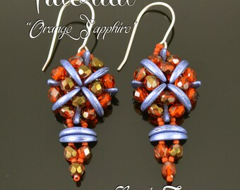 Orange Sapphire - beading pattern, crescent bead tutorial, seed beads pattern / TUTORIAL ONLY