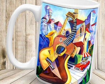 All That Jazz - 1 x 11oz Ceramic Mug, Printed Both Sides, 100% Dishwasher Safe.
