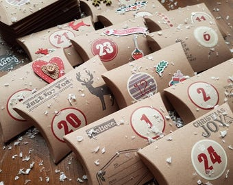Handmade Rustic Christmas Advent Calendar x 24 Pillow Boxes /Sweets/Gifts/ Handstamped/