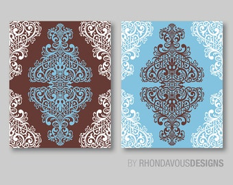 Blue and Brown Ornamental Print Duo - Home Wall Art Bedroom Nursery Bath Decor - Shown in Light Blue Brown - You Pick the Size (NS-260)