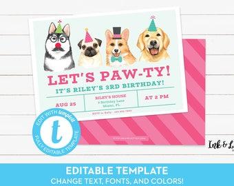 Printable Invitation Etsy - Dog party invitations template