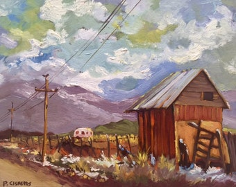 Cedar City Utah oil painting of an old barn along the road painted in plein air.