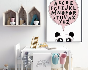 Customised Animal Alphabet Print Poster for the Nursery / Bedroom. Back to School // Baby Shower