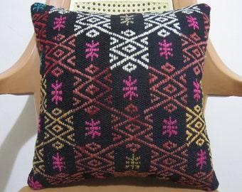 Colorful Embroidery Design Kilim Cushion 16 x 16 Decorative Sofa Pillow Kilim Pillow Rustic Pillow Throw Pillow