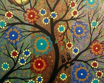 Needlepoint Canvas 14 or 18 count, By Lori Everett, Tree Art, Day Of The Dead, DOD, Mexican Art, Whimsical Art, Folk Art, Black Birds