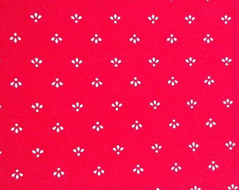 Cotton Fabric / Red Cotton Fabric / Vintage Red Cotton / Cotton Calico Fabric / Red Calico /Marcus Brothers / Quilting Fabric / 2 yards