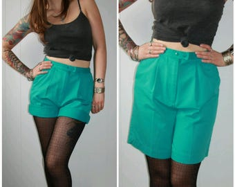 80s Vintage High Waisted Knee Length Teal Blue Green Shorts with Front Snap Elastic Waist