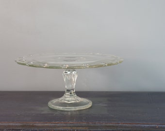 """Vintage Indiana Glass Clear Cake Pedestal Stand 10.5"""""""