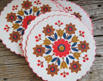 Folk art paper coasters (set of 13) / Vintage 3 1/4 inch red printed coasters / Christmas coasters
