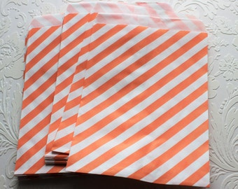 Tangerine and White Striped Paper Bag- Gift Bag, Notion Bag, Party Favor, Party Supply, Shop Supply, Treat Bag, Merchandise Bags