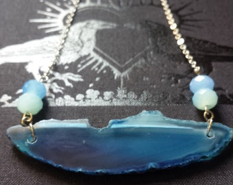Minimal Natural Agate Slice Necklace in Blue w/ Milky Blue Glass Beads, Boho, Wanderlust, Crystal, Reiki, Chakra, Healing, Stone, Festival
