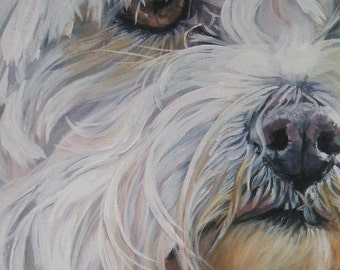 Maltese dog art portrait CANVAS print of LA Shepard painting 11x14