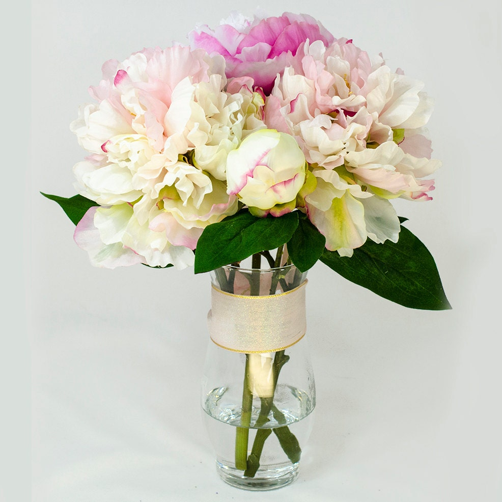 Baby pink fuchsia silk peony arrangement in glass vase as home zoom reviewsmspy