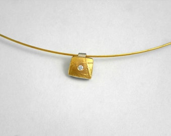 Hammered minimal charm made of gold and silver with diamond and a rough surface, Geometric charm, Gift for her, Mixed metal charm.