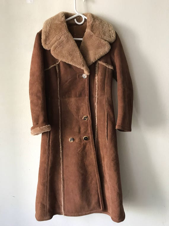Women's Elegant Sheepskin Brown Size Fur Extra Warm Comfy And Coat Vintage Small Long Genuine PqIwqTr