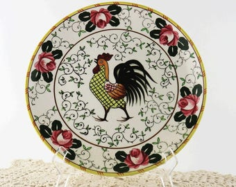 Mid Century Early Provincial Rooster and Rose 9 7/8 Inch Dinner Plate, Ucagco Hand Painted Japan, Yellow Pink Green