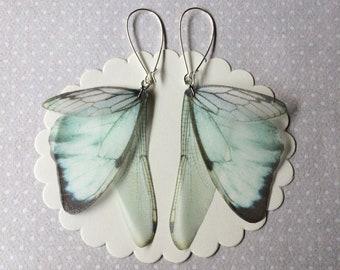 Boucles d'oreilles en verre fait main libellule cigale ailes boucles d'oreilles papillon en Organza de soie - comme