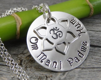 Hand Stamped Jewelry - Lotus Om Charm - Om Mani Padme Hum - Mantra - Sterling Silver Necklace - Personalized Jewelry