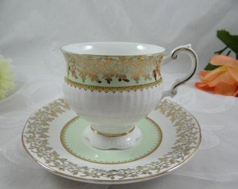 Vintage Elizabethan  English Bone China Green and Gold Filigree Teacup English Teacup