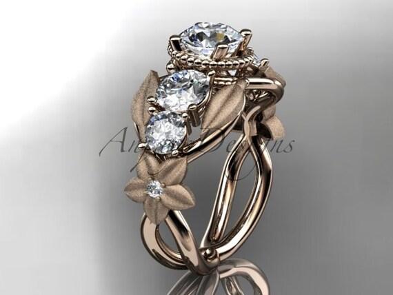 14kt Rose Gold Diamond Floral Leaf And Vine Wedding Ring