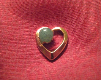 Vintage Gold Tone and Serpentine Heart Lapel Pin