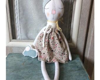 Rag Doll - Stuffed Cat Doll - Heirloom doll - Home Decor - White Cat