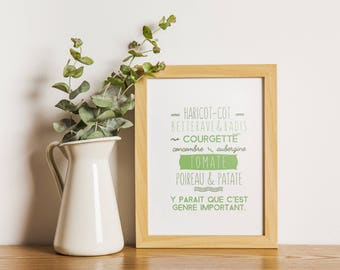 Vegetables, green, funny design, kitchen poster, typography poster