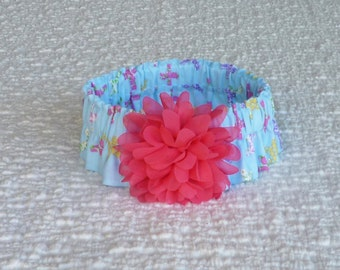 "Dog Ruffle Collar, Pet Bandana, Easter Flower Crosses Dog Scrunchie Collar with pink chiffon flower - Size L: 16"" to 18"" neck"