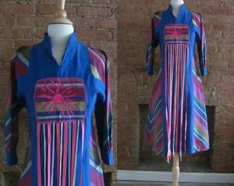 1960s rare Mexican designer colorful chevron stripe dress