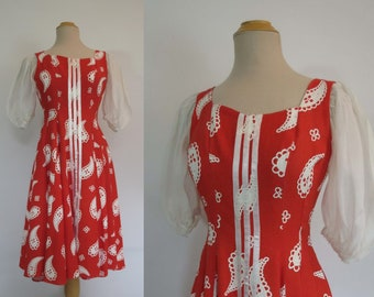 Vintage Dress - 1950s Style Dirndl Dress - Red and White Paisley With Puffy Organdy Sleeves - Bust 86 cm