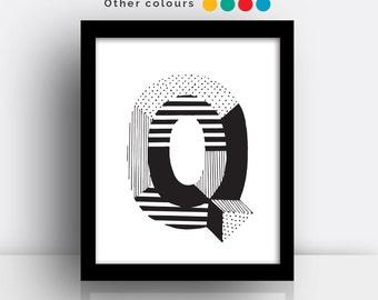 Letter Q print - hand drawn typeface