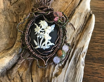 Forest Fairy  Copper Cameo Pendant Necklace, Woven, Unakite, Rose Quartz, Wire Wrapped, Elven, Renaissance, Ren Faire, Celtic