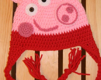 Crochet Toddler Peppa pig hat