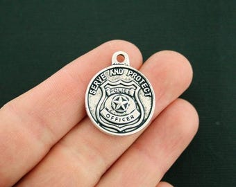 2 Police Officer Charms Antique Silver Tone - SC6282