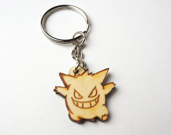 Gengar Pokemon Keychain | Laser Cut Jewelry | Wood Accessories | Wood Keychain