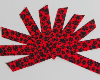 Fabric Washi Tape  Red and Black Paw Pattern - 10 pieces